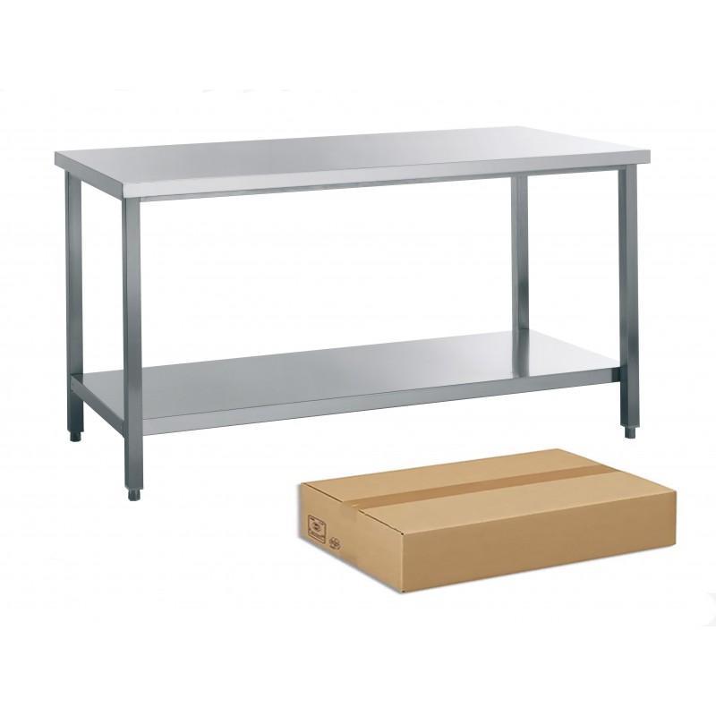 TABLE DE TRAVAIL INOX DEMONTABLE, AVEC SOUTABLETTE, L... - Référence JT1KIT-10070