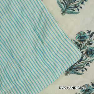 hand block print kantha quilt, cotton kantha quilt, handmade - hand block printed cotton kantha quilt, india handmade boho bohemian and throw