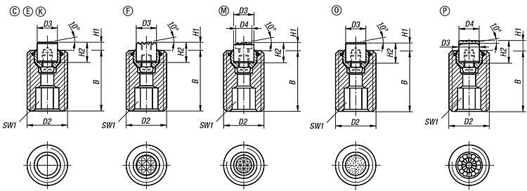 Self-aligning Pads Adjustable With O-ring, Exchangeable Inserts... - Self-aligning pads