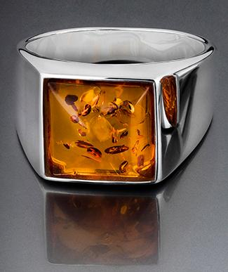 Silver signet ring with amber - For men's