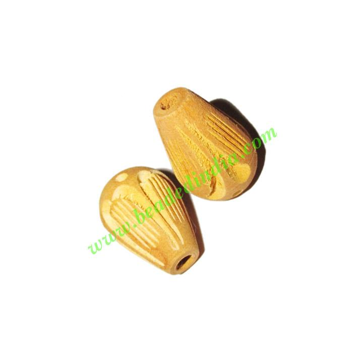 Wooden Carved Beads, size 15x23mm, weight approx 1.9 grams - Wooden Carved Beads, size 15x23mm, weight approx 1.9 grams