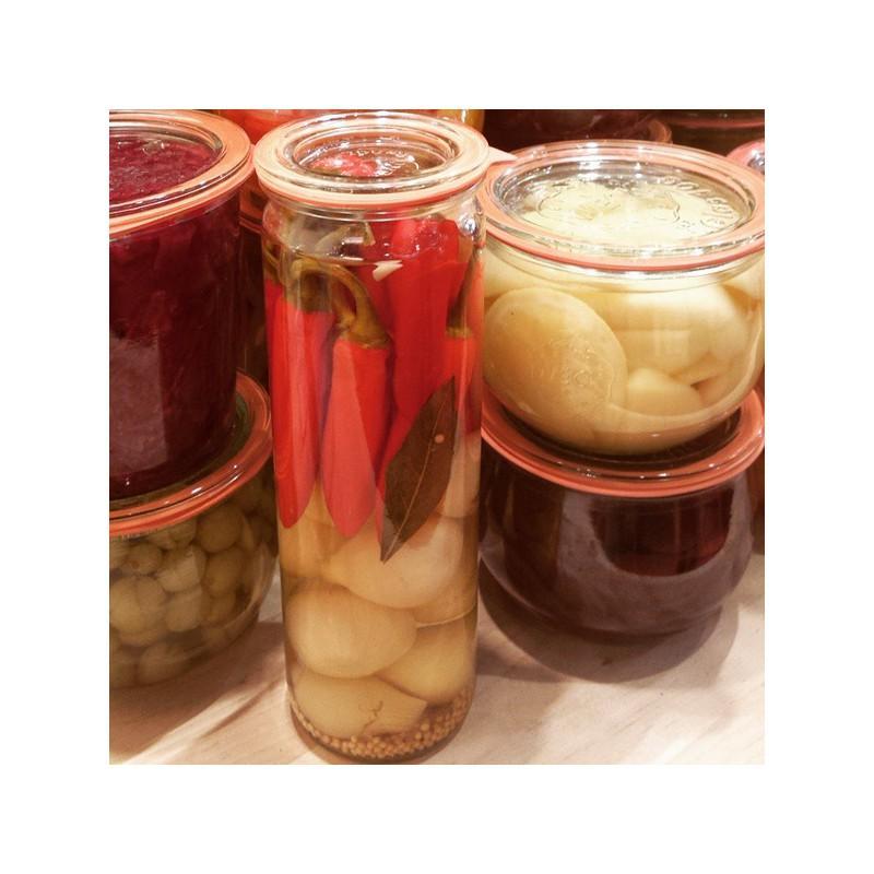 6 vasi WECK Tube® 600 ml  - con coperchi in vetro e guarnizioni (graffe non incluse)
