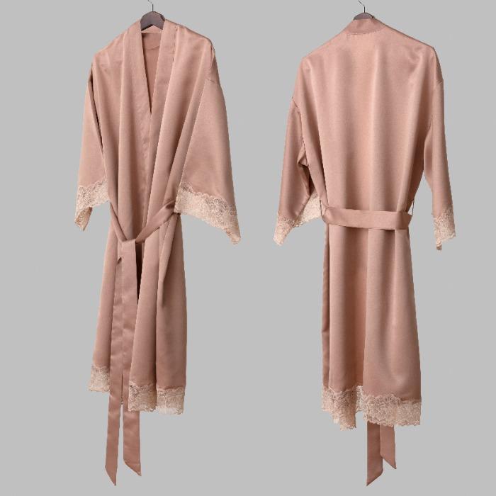 satin robe - satin robe with lace appliqué