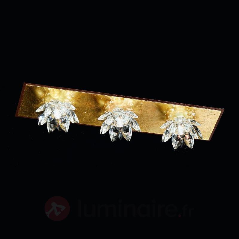 Plafonnier FIORE avec feuille d'or et cristal - Plafonniers en cristal