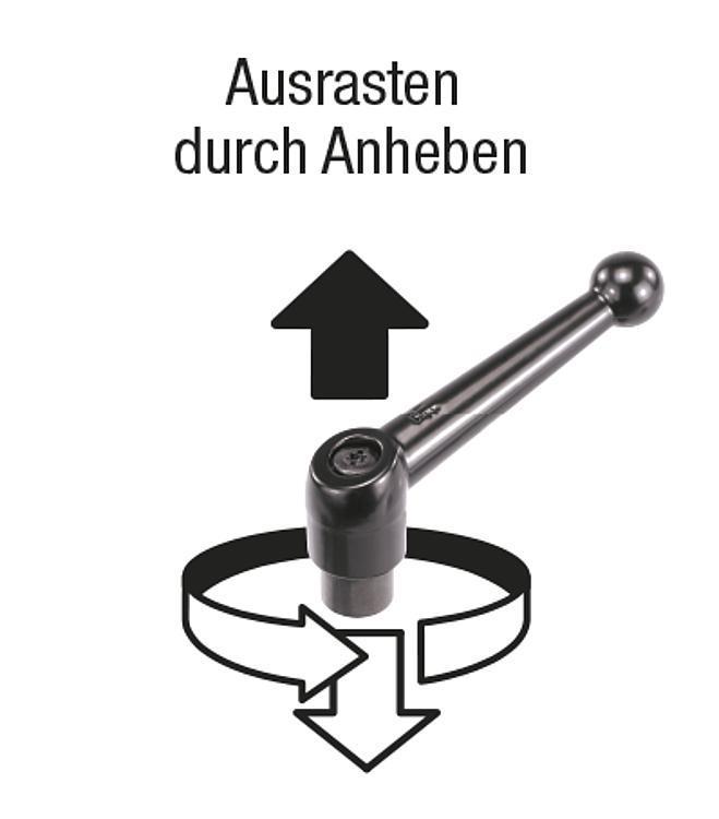 Flexibles Normteilesystem - Klemmhebel mit Außengewinde, Stahl
