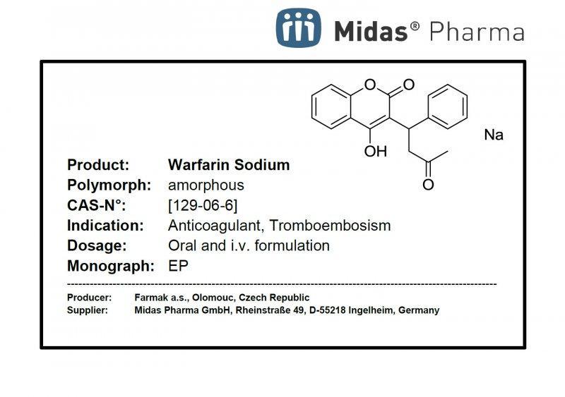 Warfarin Sodium, amorphous - Warfarin Sodium, amorphous; API; EP, USP, JP, ANVISA; [129-06-6]