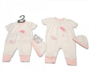 Baby Girls Long Romper with Hat - Little Petal  -