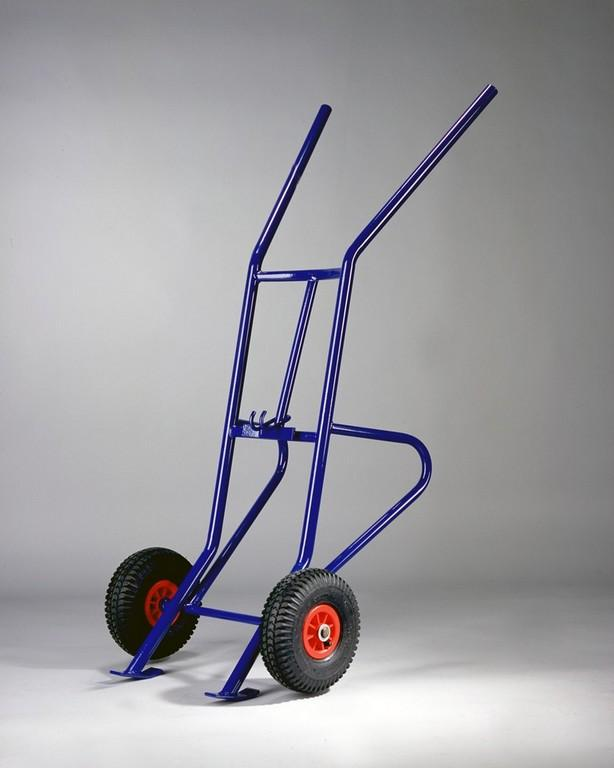 Metal warehouse trolley with two rubber wheels
