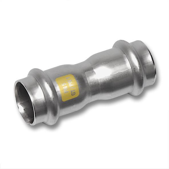 Edelstahl-Rohrleitungssystem NiroSan® Gas, Muffe - NiroSan® Gas Muffe beidseitig mit Pressanschluss