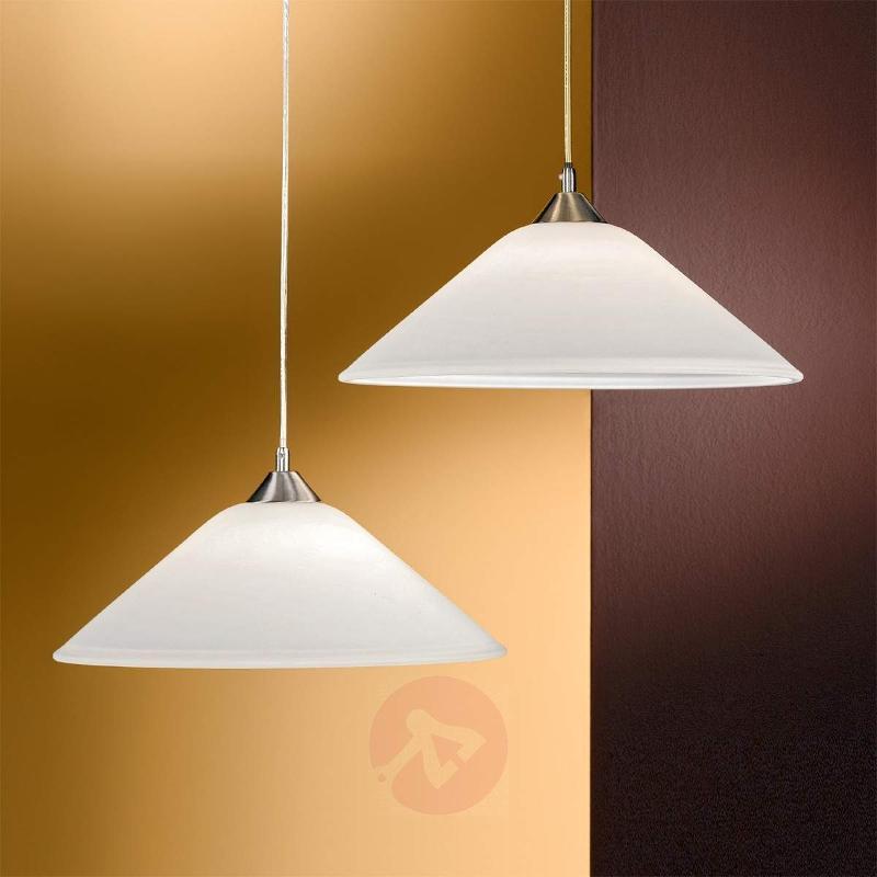 Loisa Hanging Light Opal Glass Subtle Nickel - Pendant Lighting