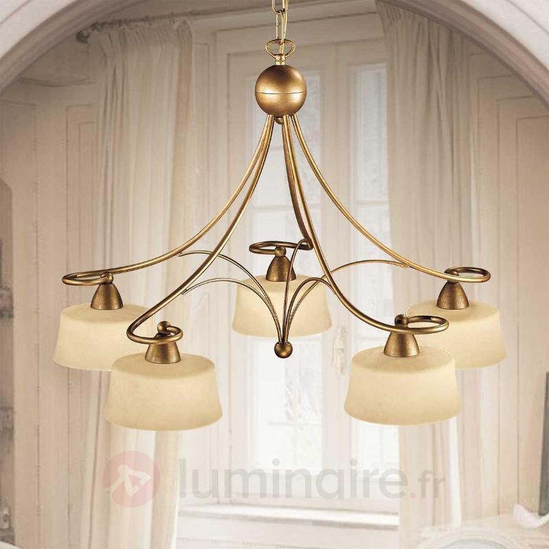 Suspension Alessio à 5 lampes en verre Scavo - Cuisine et salle à manger