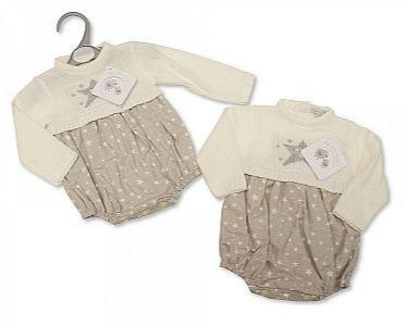 Spanish Style Knitted/Woven Baby Romper - Stars -