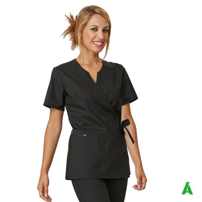 Casacca donna scollo V, tasca e pinces per centri beauty - Casacca donna per estetica con chiusura laccio, tasche e scollo V