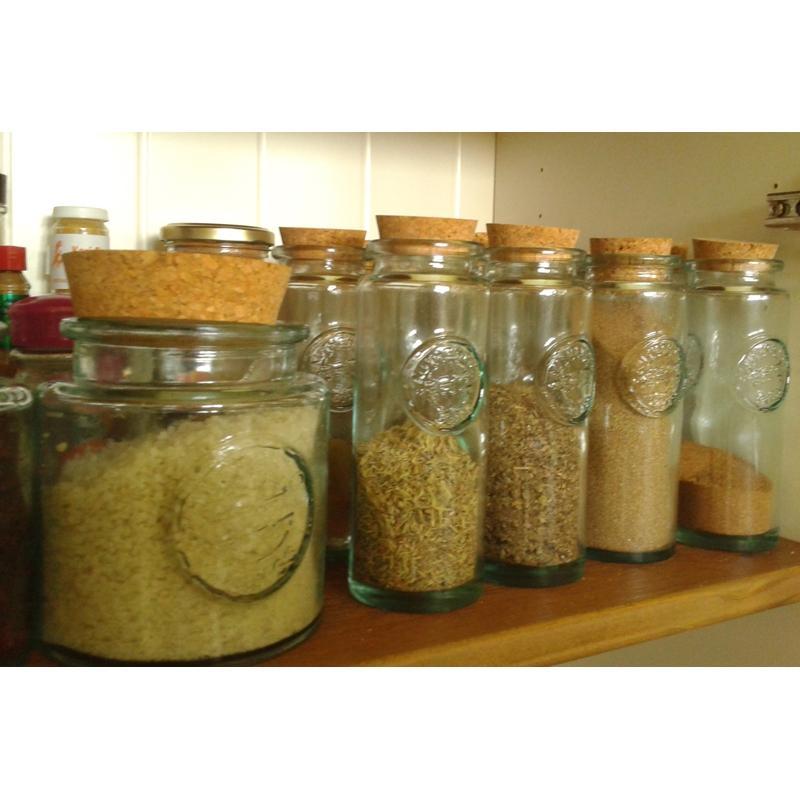 6 Pots à épices Authentic 200 ml avec bouchon en liège - Pots à épices