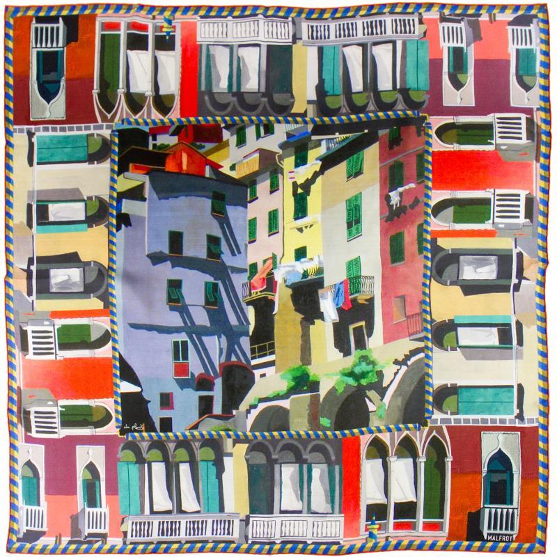 Carré En Twill De Soie Imprimé Les Balcons Venitiens De L'artiste Anne - HIVER 21-22