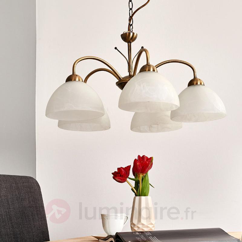 Suspension MILANESE 5 lampes coloris laiton ancien - Suspensions classiques, antiques