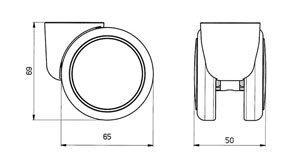 "Reinforced copolymer ""H"" type hard treads ADAPTO ® - CASTOR EMI Ø mm. 65 ""GEMIOPEN"" + ""ADAPTO""®"