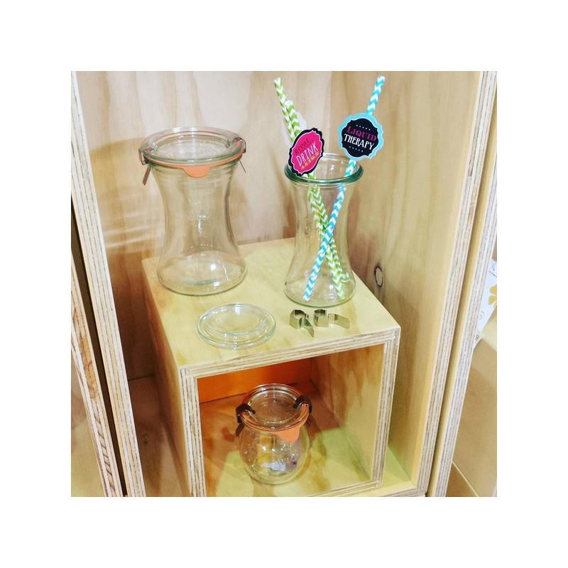 WECK BOBINE® glazen - 6 glazen WECK Bobine® 200 ml met deksels in glas en verbindingsstukken (niet