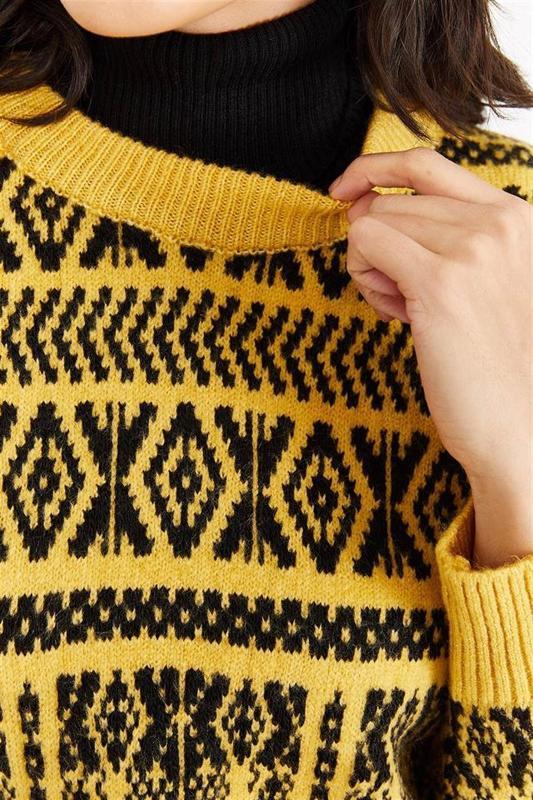 Women Mustard Textured Knitted Sweater - Women Sweater