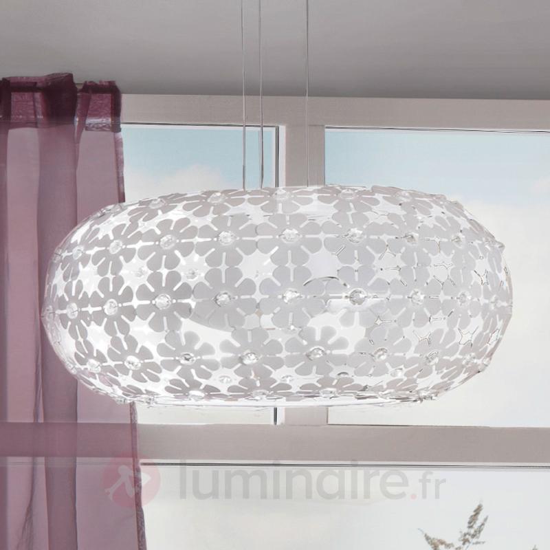 Suspension blanche Hanifa avec décorée de fleurs - Cuisine et salle à manger