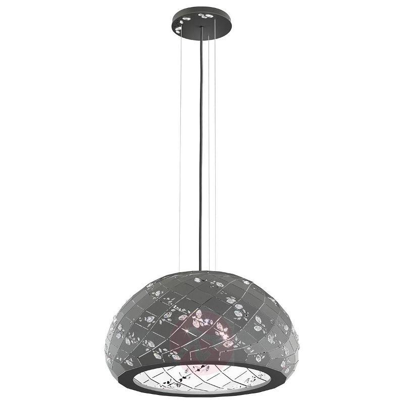 Apta - hanging lamp with crystals 53 cm, grey - Pendant Lighting