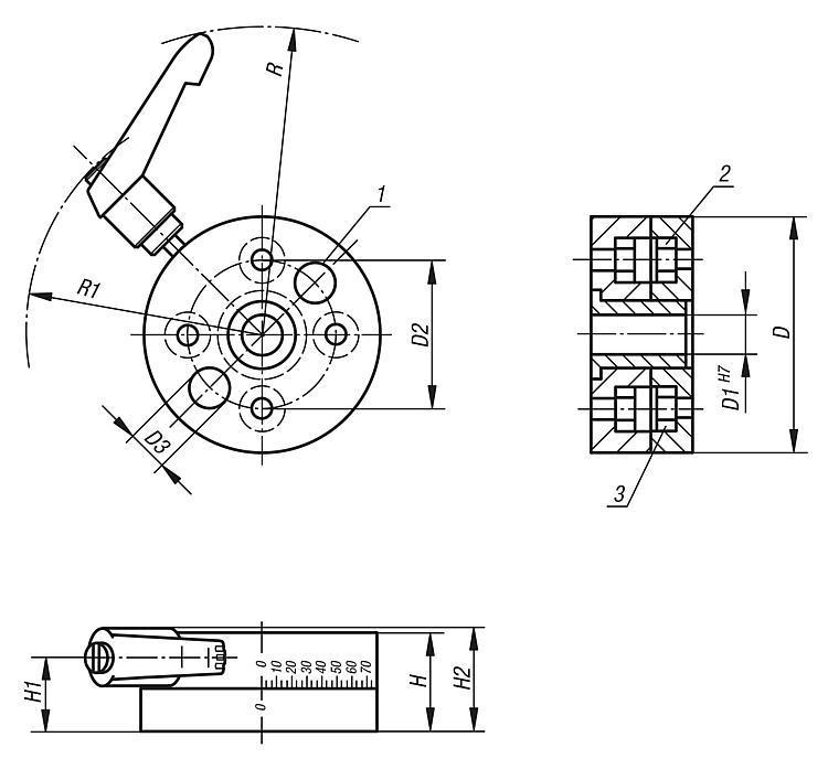 Disque rotatif - Système de positionnement