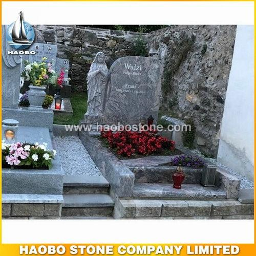 Carved Maria Granite Headstone With China Juparana - Austria Tombstone