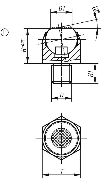 Support à bille oscillante angle d'inclinaison 12° - Éléments d'appui et de support