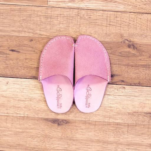 Pink CP Slippers Kid - Pink leather slippers for kids