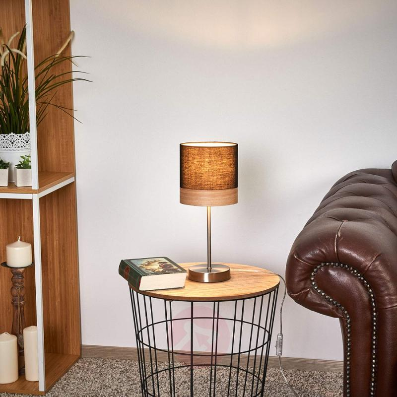 Table lamp Libba, 35 cm, black and wood - indoor-lighting