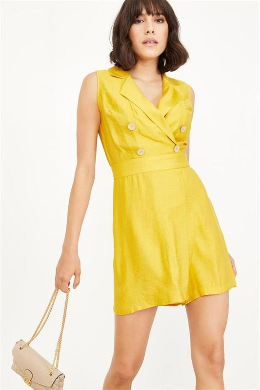 Women Mustard Linen Double-breasted Short Tulum - Women Jumpsuit