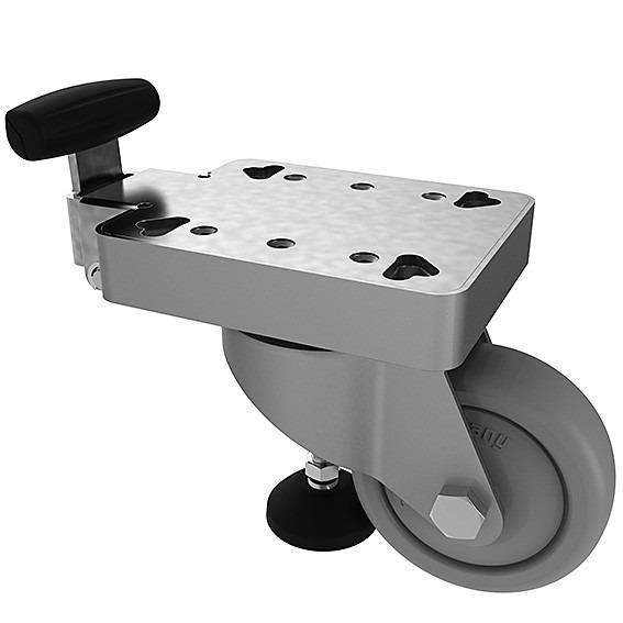 Swivel Castors With Lifting Foot - The ingenious 2-in-1 component for easy movement and safe positioning