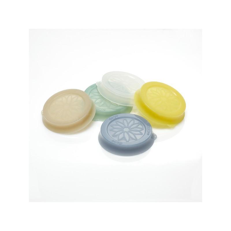 Accessori WECK® - Cuffia in silicone Blossom eCAP Storage, diametro 60 mm, colore blu per vasi
