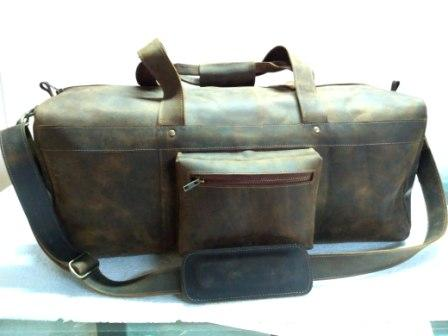 Leather Duffel Bag - Leather Dark brown Duffel Bag