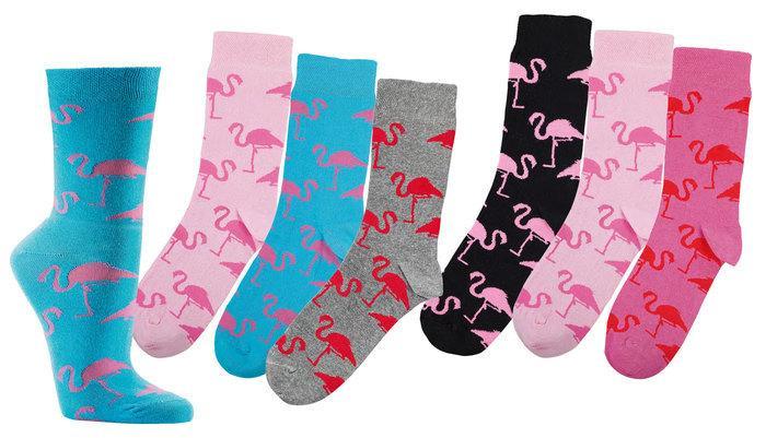 """Damensocken """"Motiv-Vielfalt"""" * 3er-Bündel - Flamingo - null"""