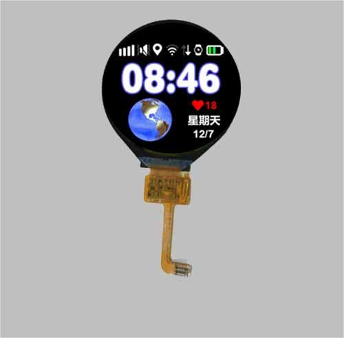 1.5 inch round tft lcd display screen - circular touch screen optional