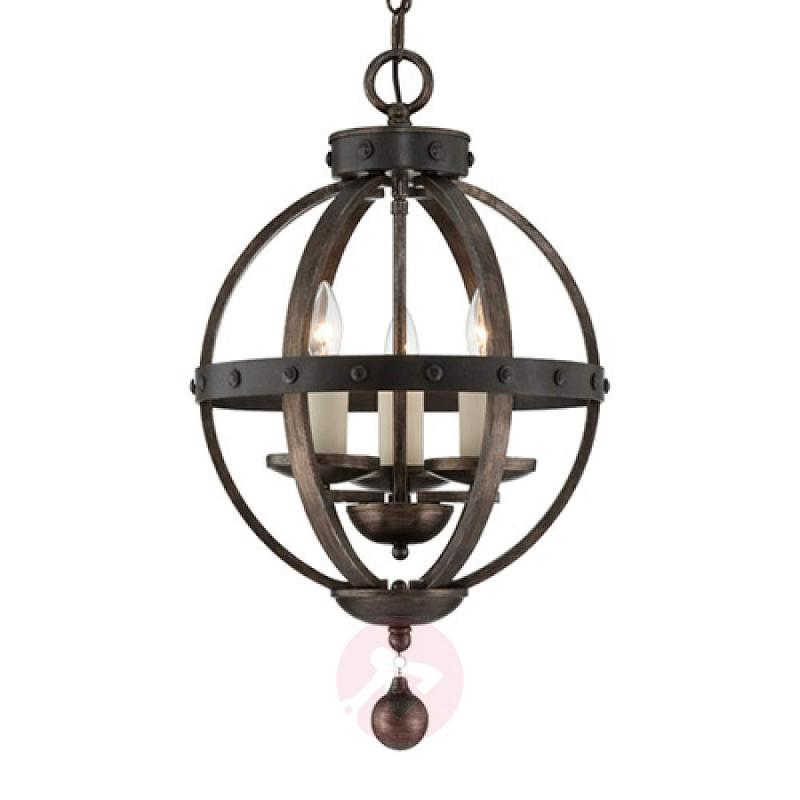 Antique rustic hanging light Alsace with wood - design-hotel-lighting