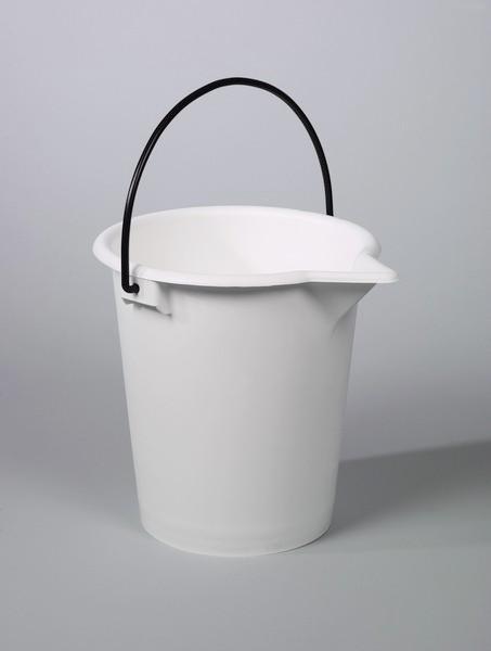 Laboratory bucket - Plastic bucket, PE, white, 10 l, 15 l