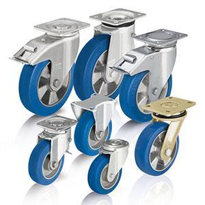 Rodas e rodízios de poliuretano - Para cargas pesadas com rasto em poliuretano fundido Blickle Besthane® Soft