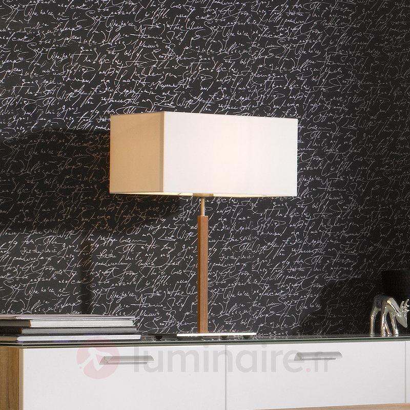 Lampe à poser Casta avec abat-jour textile blanc - Lampes à poser en tissu