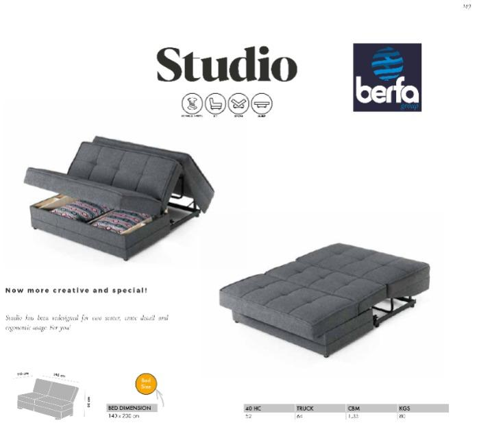Studio Sofa Bed For Hotels & Homes - Berfa Group is one of the biggest turkish sofa manufacturer and exporter.