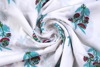 Handmade Cotton Indian Natural Sanganeri Print Fabric