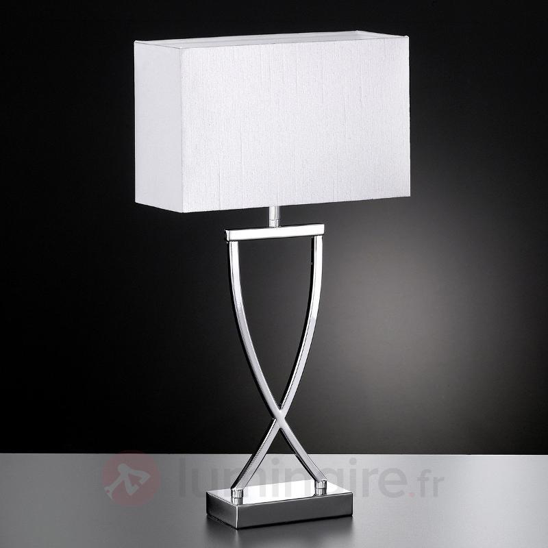 Lampadaire textile Anni chromé-blanc - Lampes à poser en tissu