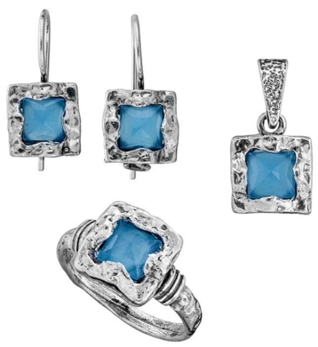 Sterling Silver 925 set with Blue Quartz - Silver Set for wholesale with Sea Blue Quartz