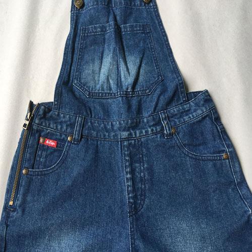 Women's denim suspender skirt Stonewashed dark blue dress -