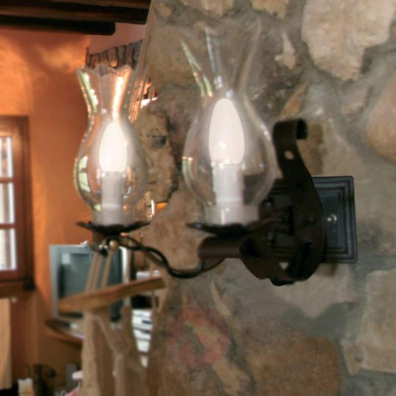 2-bulb wall light Maniero in brown - design-hotel-lighting