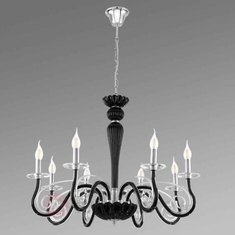 Meduno - lustre noir en acier et verre - Tous les lustres