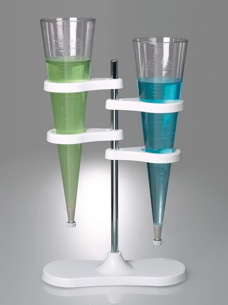 Stand for Imhoff sedimentation funnel - Laboratory equipment, with two holders for sedimentation funnels, magnet concept
