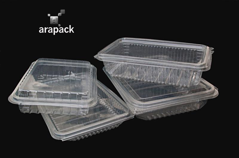 Plateau en plastique PET avec couvercle  - Bac alimentaire transparent avec couvercle en plastique PET