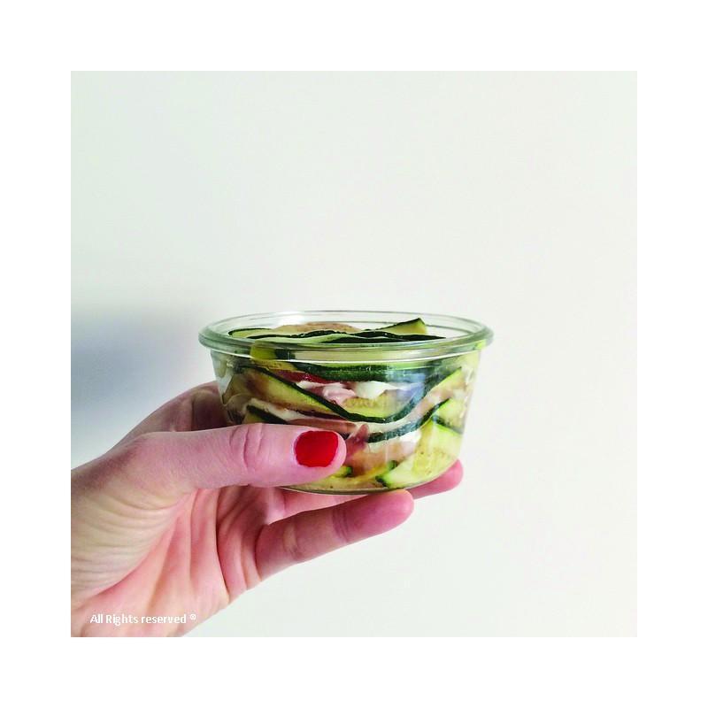 WECK® STORT Glazen - 6 glazen in glas Weck Recht 290 ml, doorsnede 100 mm met deksels in glas en